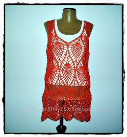 louca por linhas - crochet e patchwork: Regata Orange