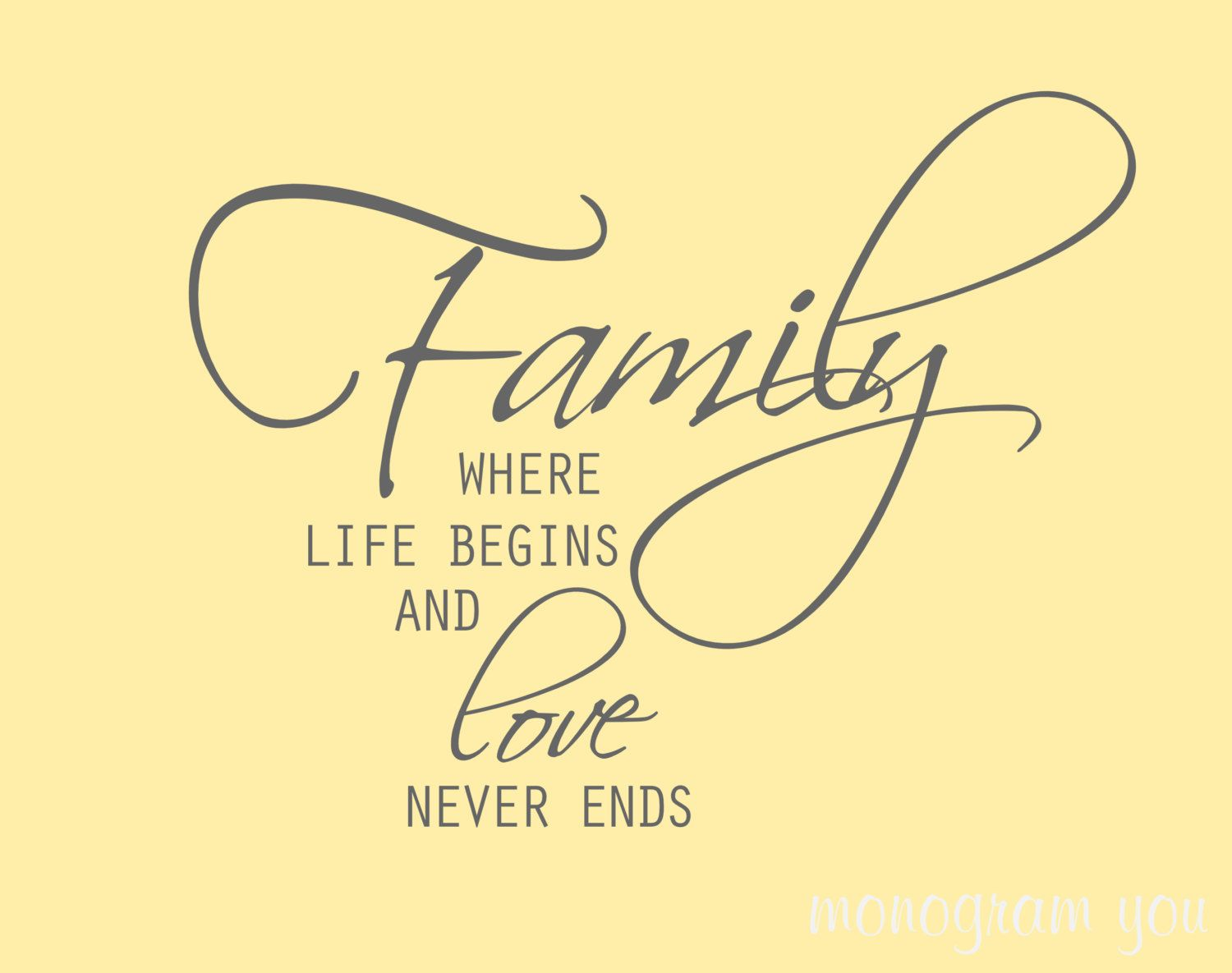 Family Wall Decal \'Family Where Life Begins and Love Never Ends\'