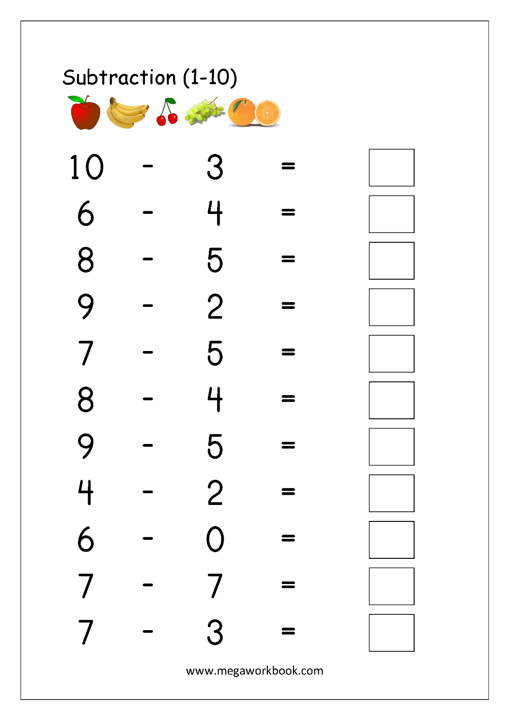 small resolution of Math Worksheet - Subtraction (1-10)   Math subtraction worksheets