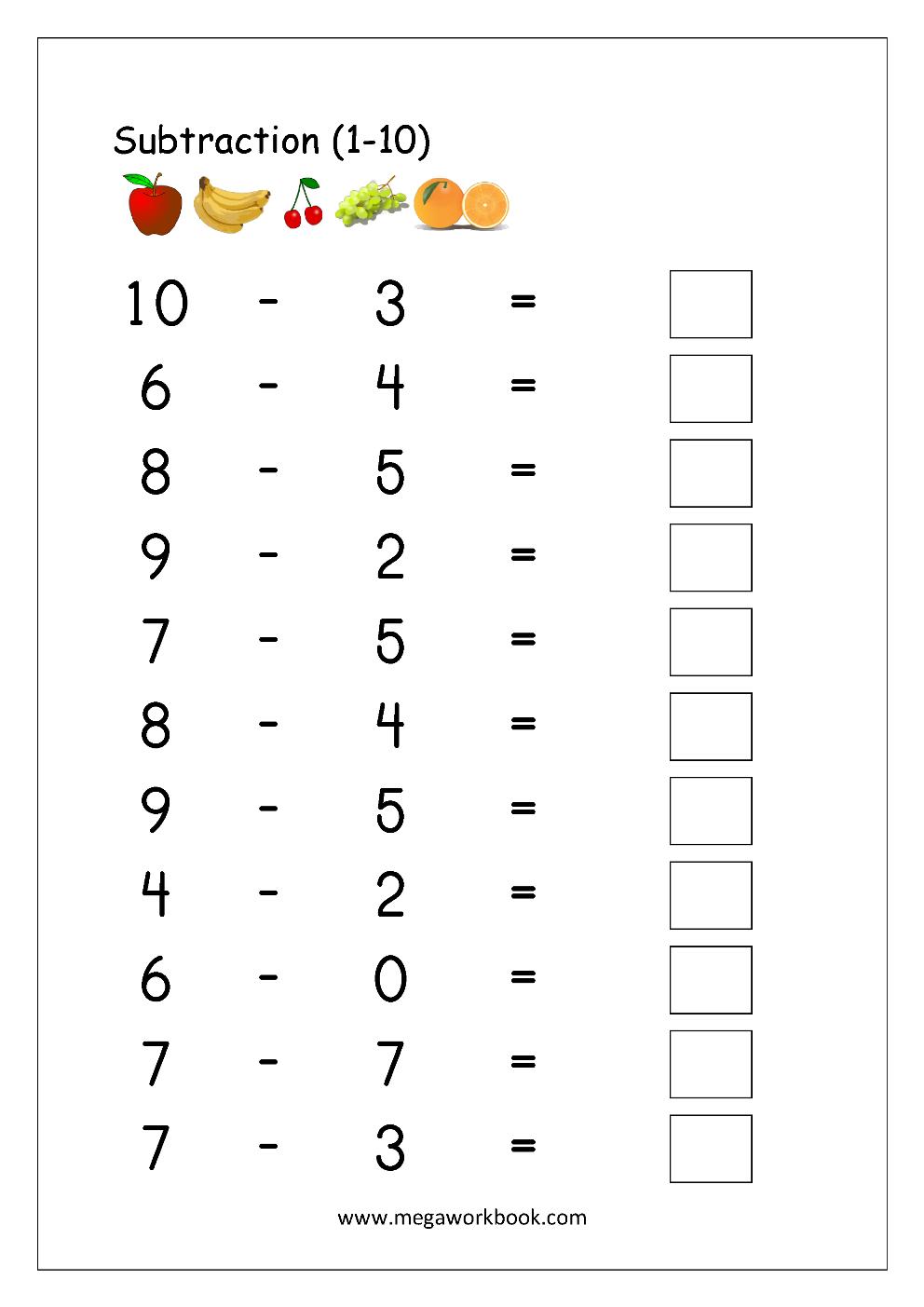 Math Worksheet - Subtraction (1-10)   Math subtraction worksheets [ 1403 x 992 Pixel ]