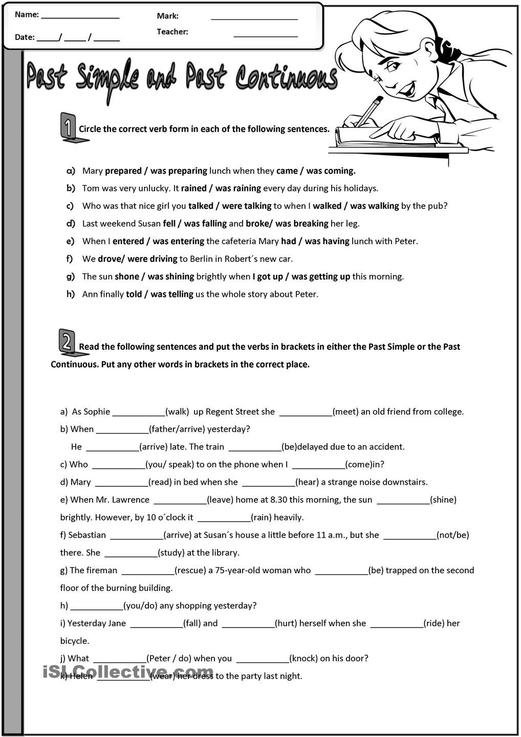 worksheet Verb Tense Worksheets High School past simple and continuous esl grammar pinterest english simplepast comparison gap fill vs tense reading writing intermediate upper interme