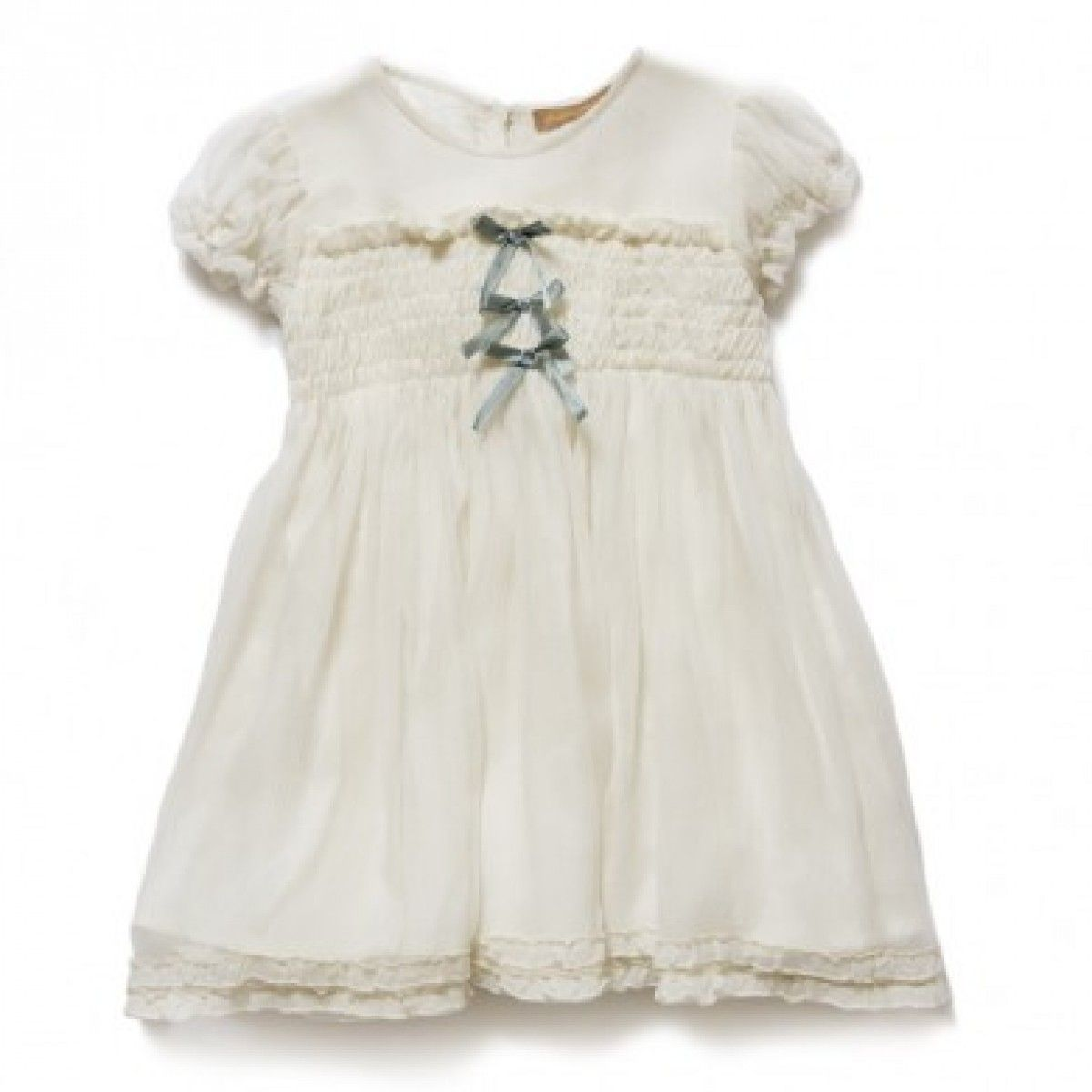 Baby vintage ribbon dress creamblue babies flower