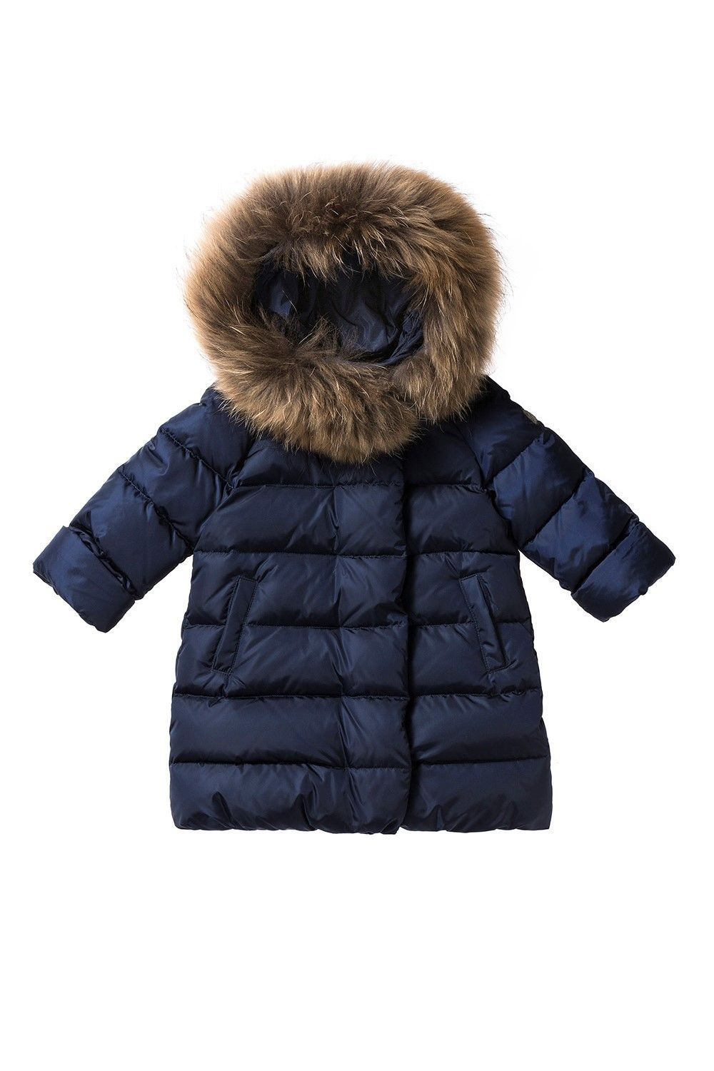 Italian Luxury Blue Down Filled Coat With Hood And Fur