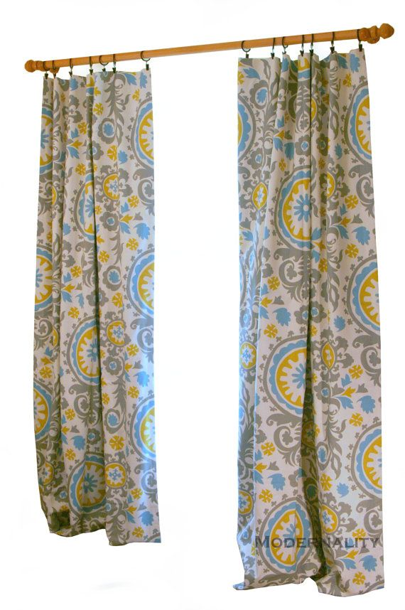 clearance citrine curtains- pair of drapery panels- premier prints