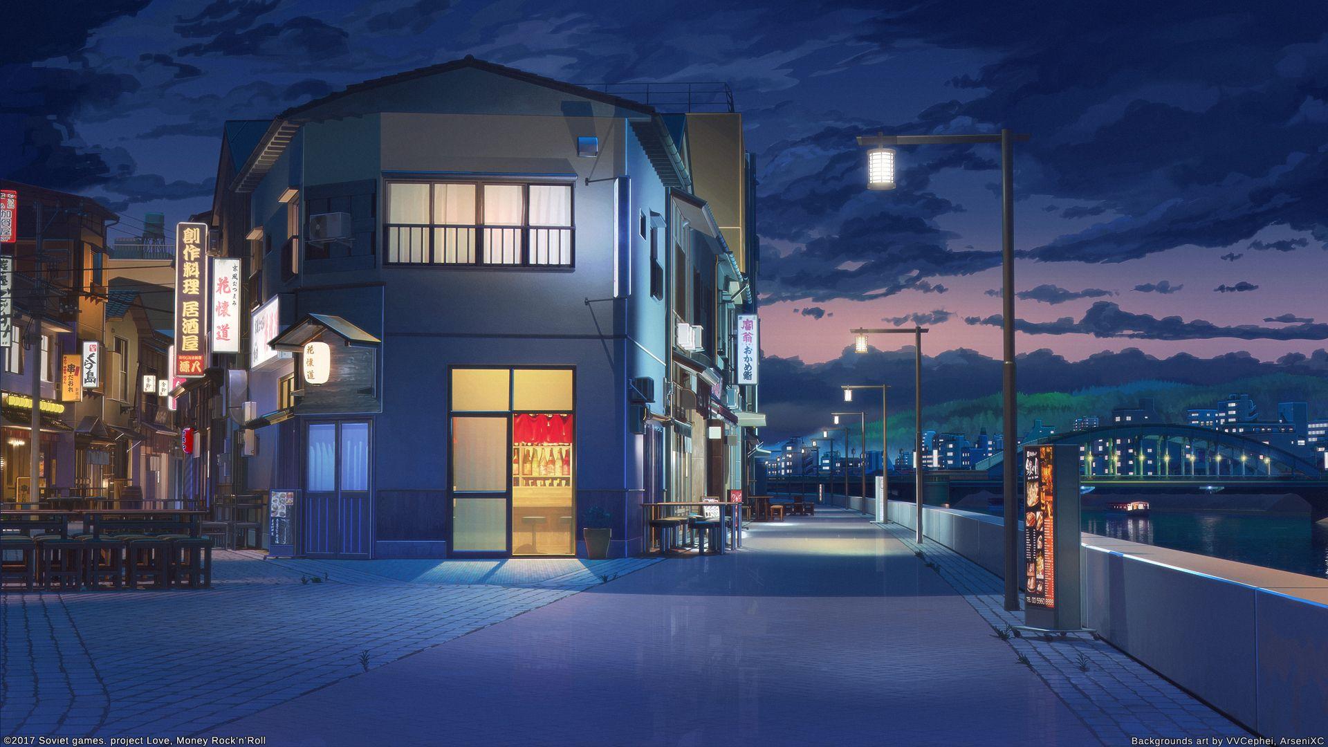 Riverside Night By Arsenixc Anime Scenery Night Scenery Anime Scenery Wallpaper