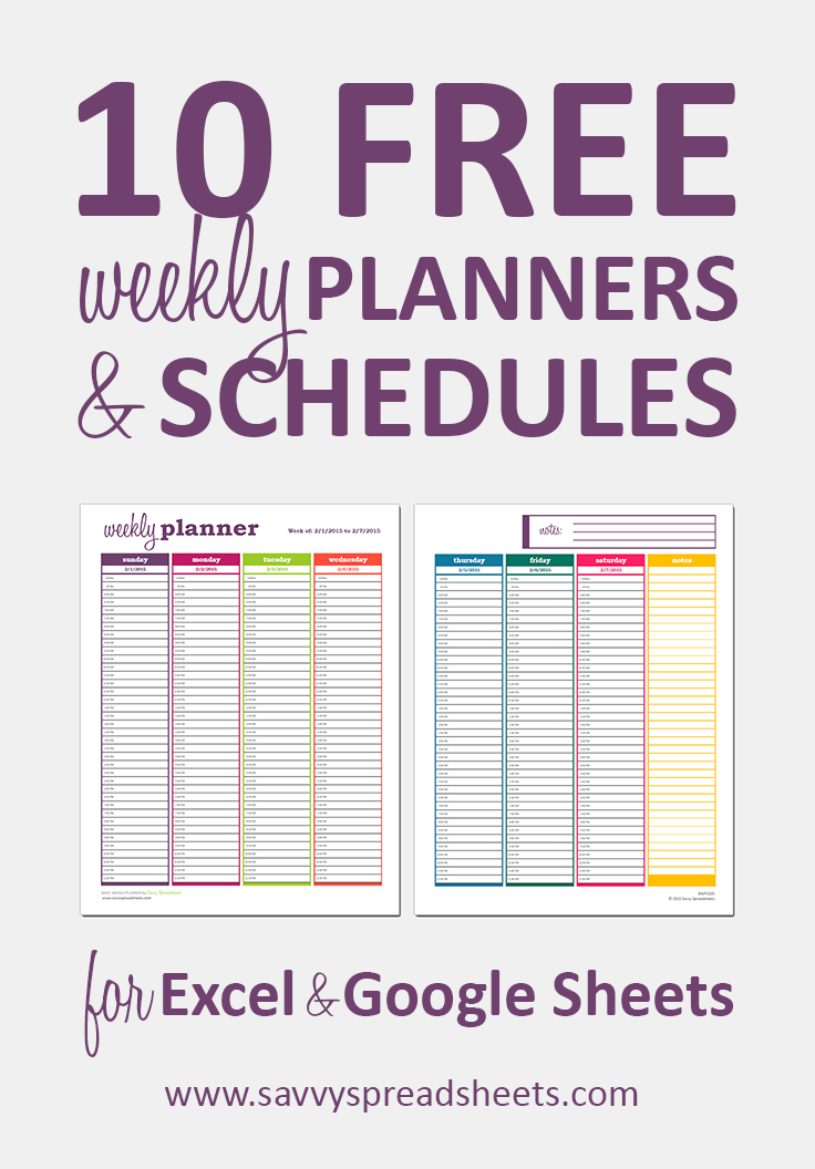 10 free weekly schedule templates for excel
