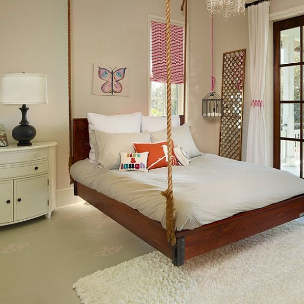 Who Says You Can T Swing Indoors Unique Bedroom Ideas Bed Swing Hanging Beds