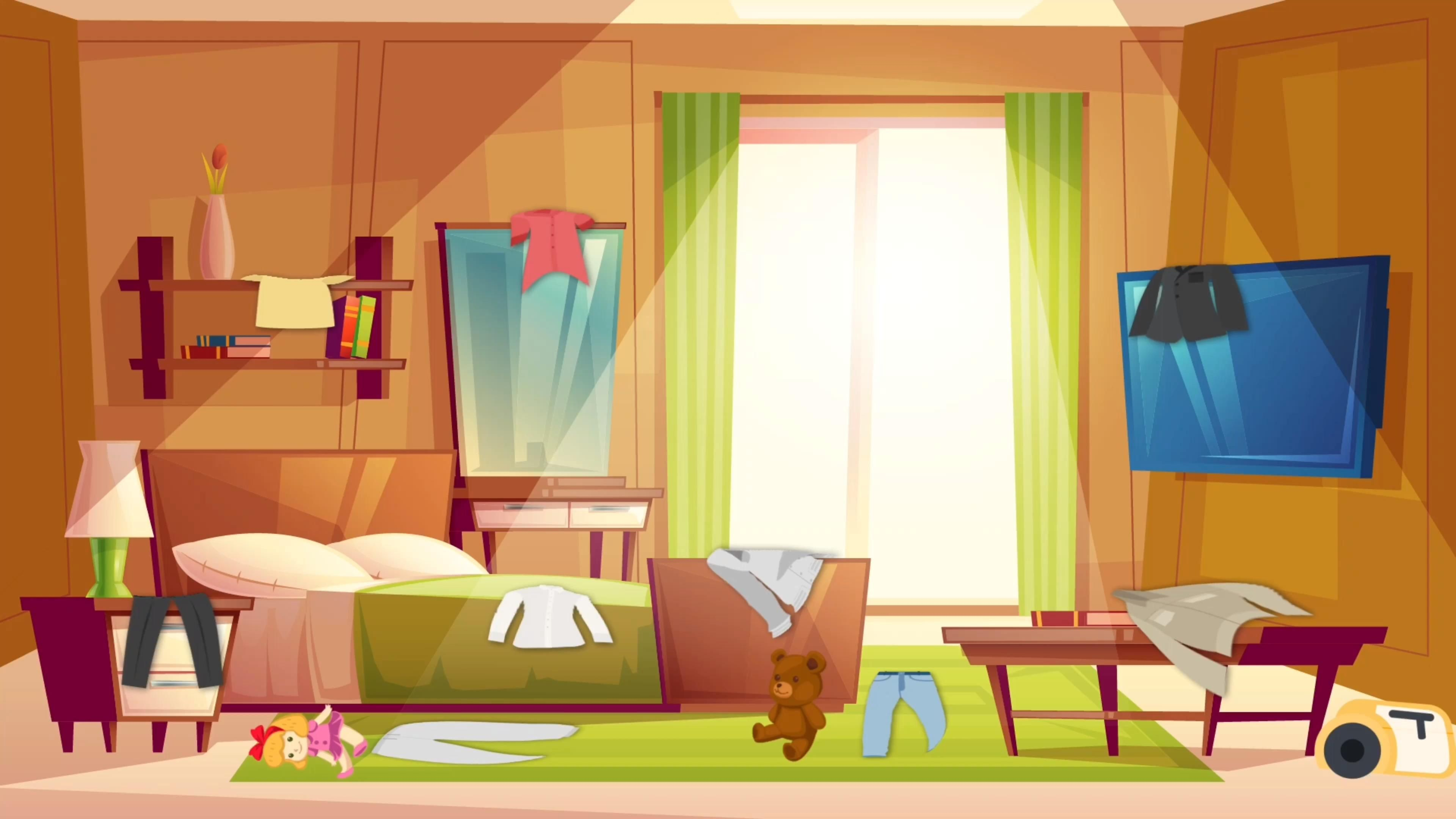 The Best Vacuum Storage Bags Video Modern Bedroom Cartoon Background House Inside Living room background animated