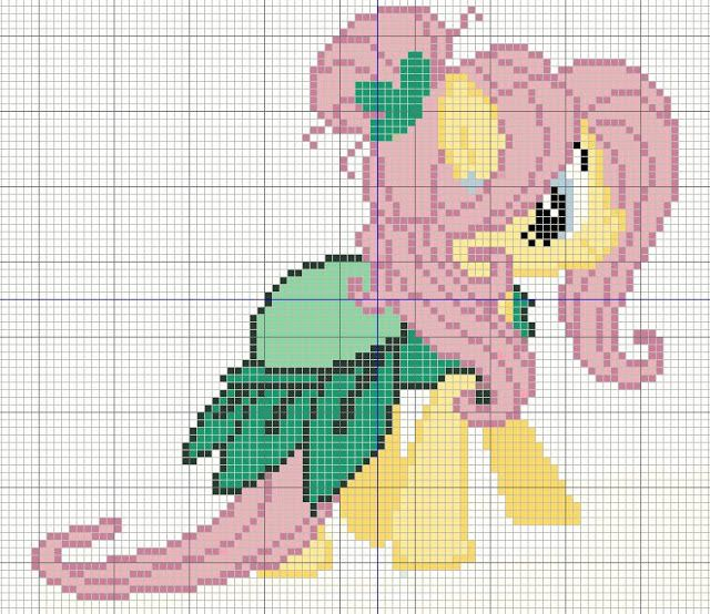 Buzy Bobbins: Fluttershy in a green dress - My little Pony cross stitch design