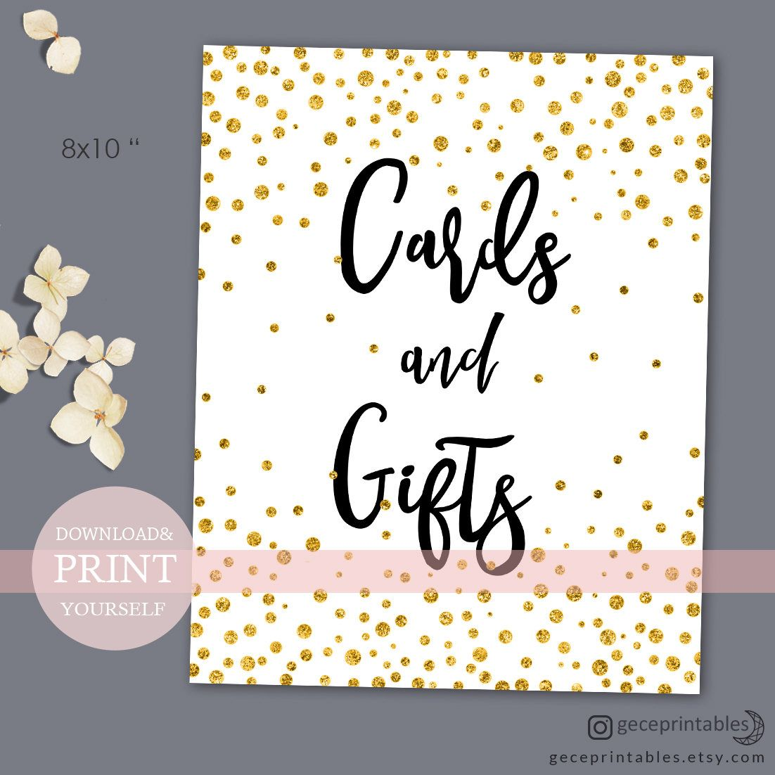 Cards And Gifts Printable Wedding Sign Gold Confetti Bridal Shower