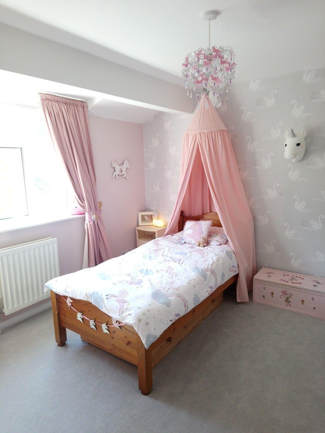 Unicorn Bedroom Laura Ashley Swans Wallpaper Girls Bedroom