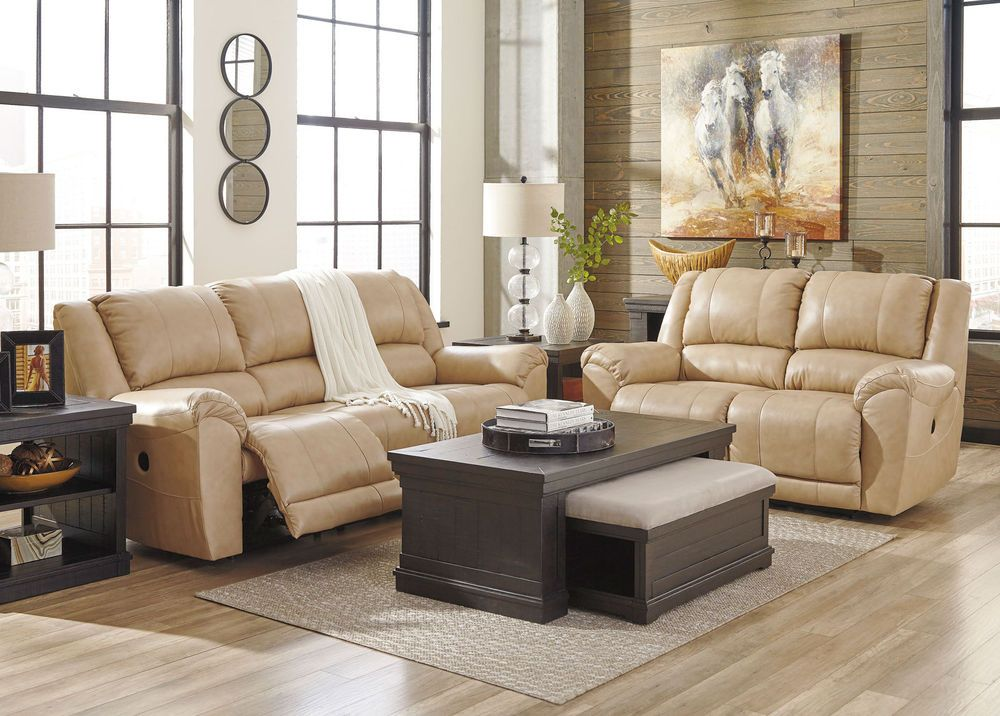 Planet Real Beige Leather Motion Reclining Sofa Couch Set Living
