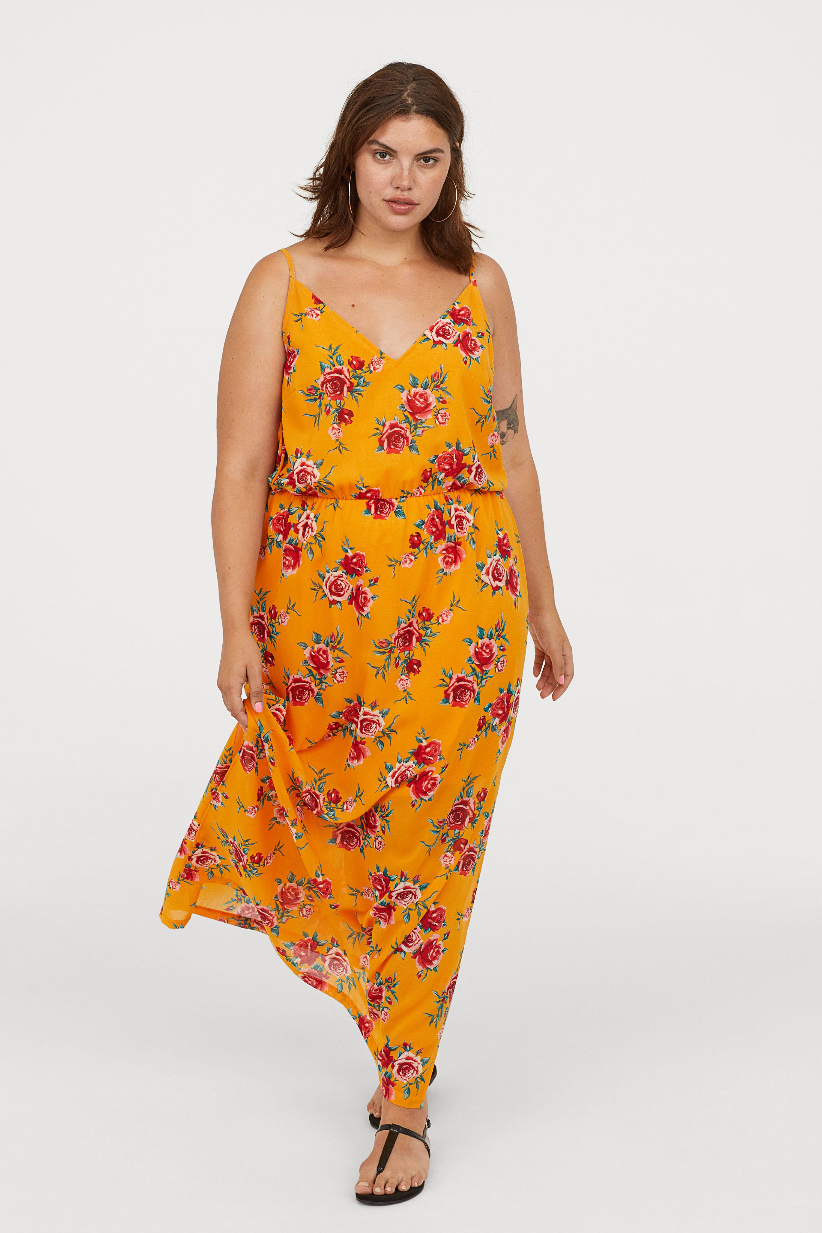 02686a8cc7226 Maxi Dress | H&M | Dresses, Yellow dress, Draped skirt