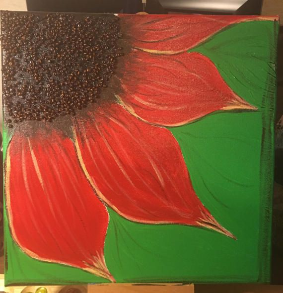 Red flower on canvas di PurtyLilPaintings su Etsy