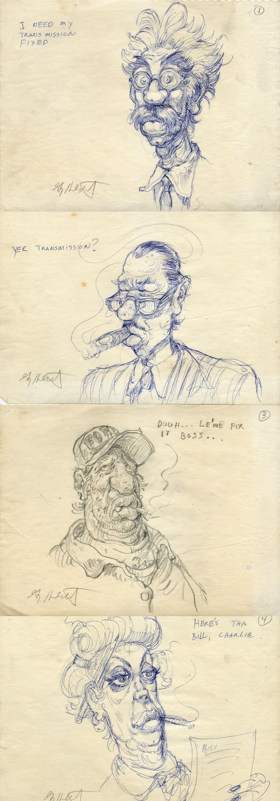 Need my car fixed. A small series of doodles from 1970 by Greg Hildebrandt.