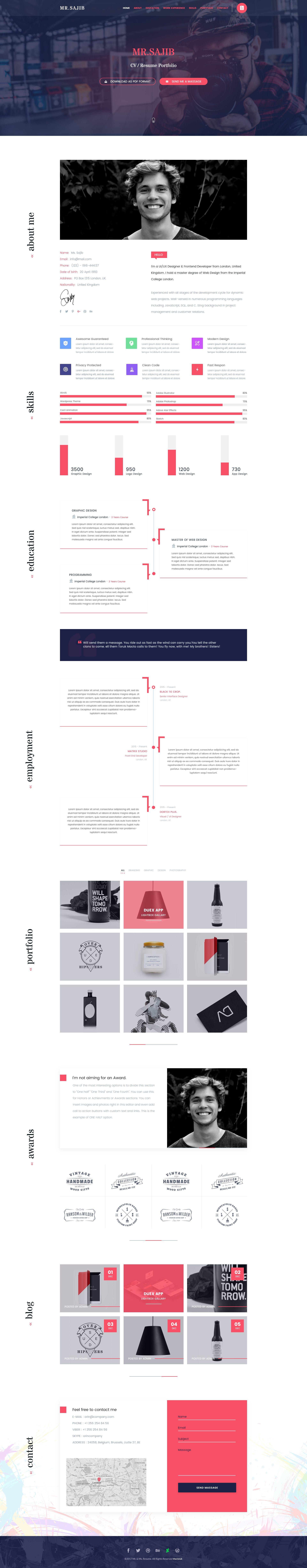 Mr. & Ms. Resume PSD Template | Psd templates, Resume cv and Ux designer