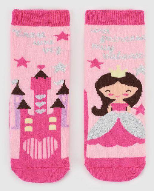 29ed555fa Calcetines antideslizantes de bebé niña Cotton Juice Princesas rosa ...