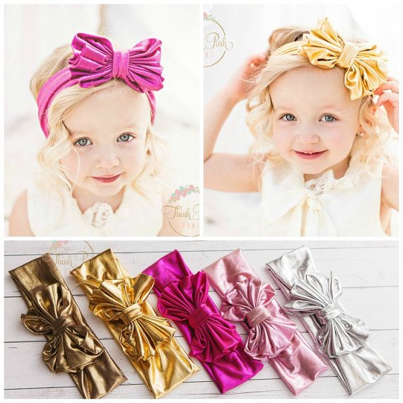 12-Color Knot Bow Nylon Headband Baby Girls Soft Head Wrap Kids Messy Hair Bands