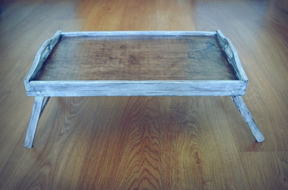 Large Breakfast Tray Bed Tray Tray With Legs White Washed Tray Washed Tray Rustic Wooden Tray Natural Serving Tray Bed Tray Breakfast Tray Breakfast Tray Bed