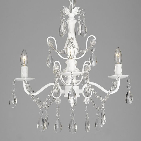Lane Wrought Iron and Crystal White 4-light Chandelier Pendant ...