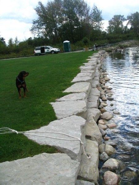 limestone seawall lake landscaping