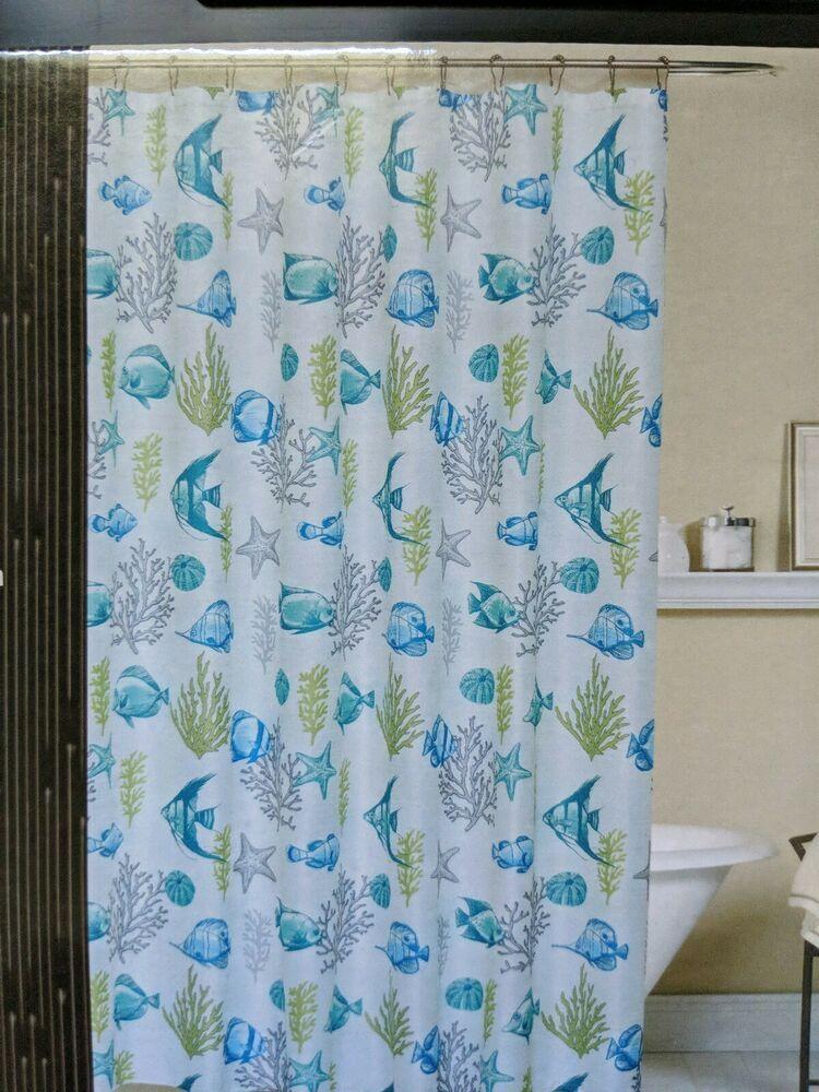 Coastal Fish Sea Life Shower Curtain Bamboo Weave Aqua Lime