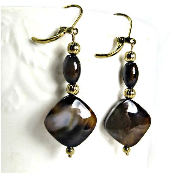 Brown Heated Agate and Gold Fluted Bead Dangle Earrings ($15) ❤ liked on Polyvore featuring jewelry, earrings, yellow gold earrings, long beaded earrings, brown earrings, agate jewelry and gold dangle earrings