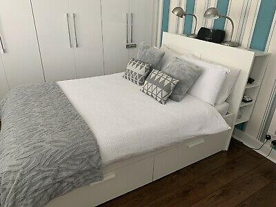 Photo of 5 'IKEA' BRIMNES '4 Drawer Bed Frame Complete With Storage Headboard • £ 40.00
