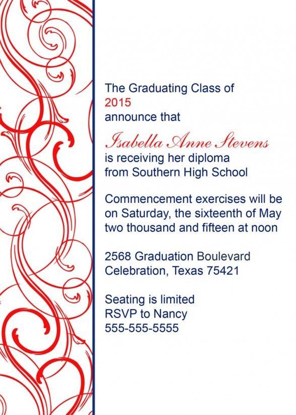 Graduation invitations red swirl pattern border and blue note graduation invitations red swirl pattern border and blue note wording design for graduation invitations card stopboris Gallery