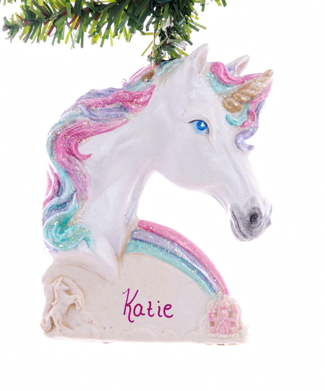 Unicorn personalized Christmas ornament  princess Christmas