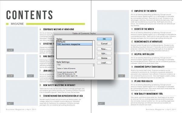 Generating An Automatic Table Of Contents From An Indesign