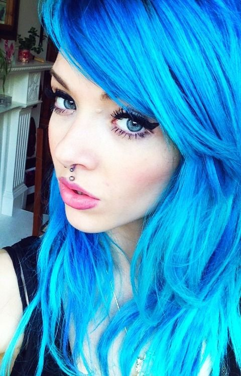 Bright Blue Color Blocking On One Wall And Ceiling: Bright Blue Hair