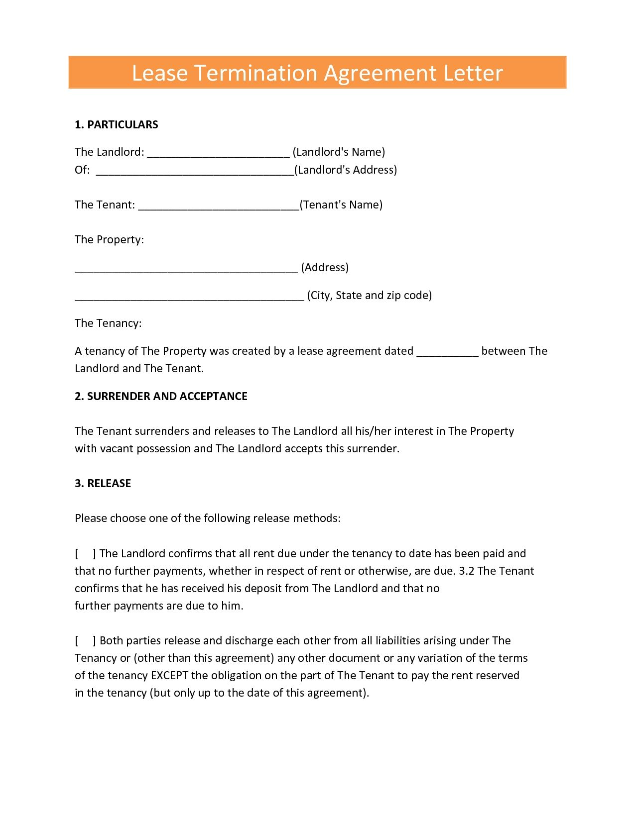 sample commercial lease termination letter landlord tenant