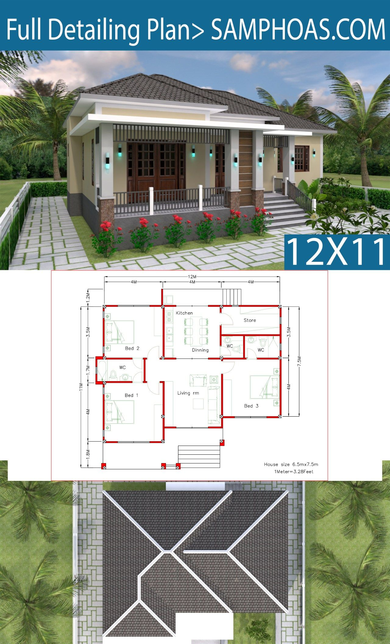 Interior Design Plan 12x11m With Full Plan 3beds Samphoas Plan Interior Design Plan Simple House Design Building Plans House