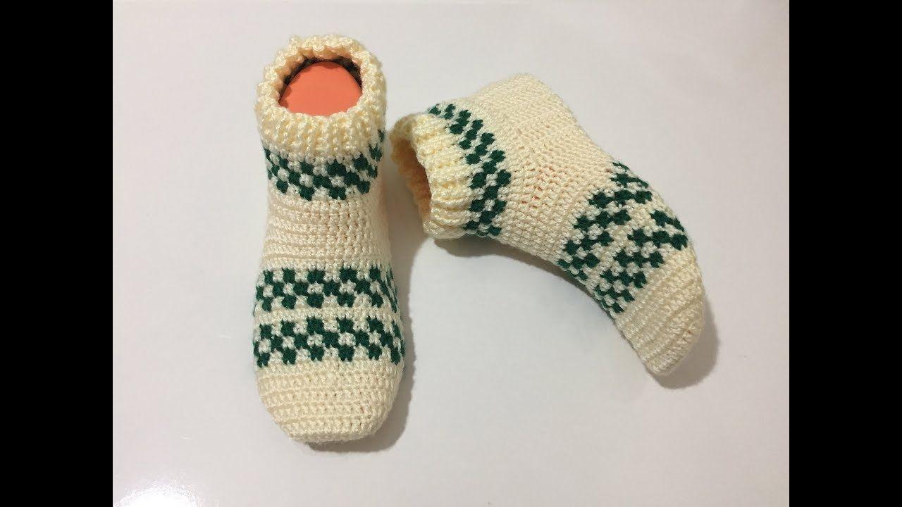 Tığ İşi Tek Parça Patik Çorap Modeli Yapılışı Videolu