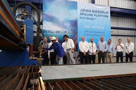 Today: The first steel cut for the DSM module for Johan Sverdrupp drilling platform. by xploretv