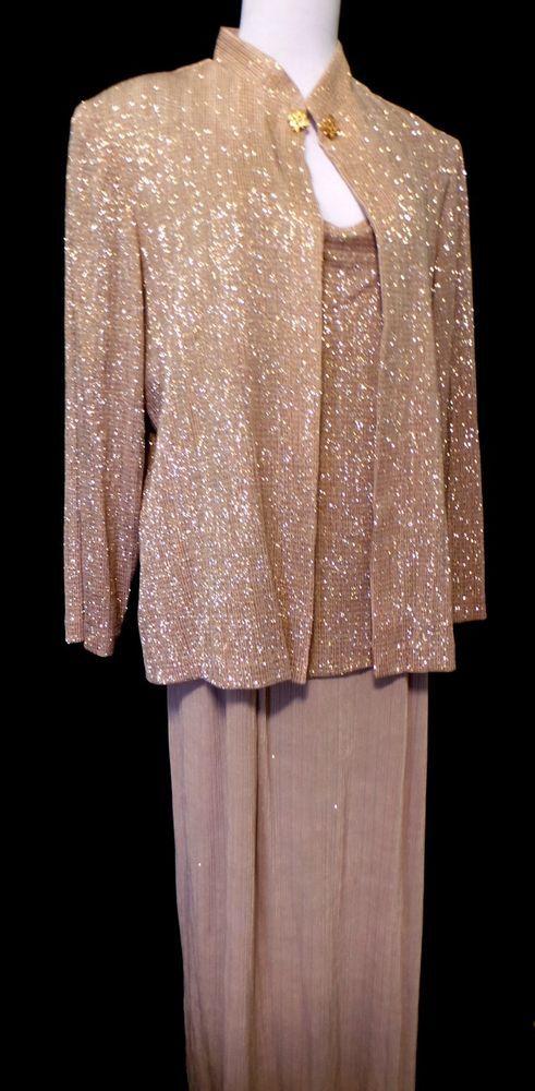 R & M Richards size 16 W Long Champaign Gold Glitter 2 piece  Gown Dress Formal #RMRichards #long #Formal