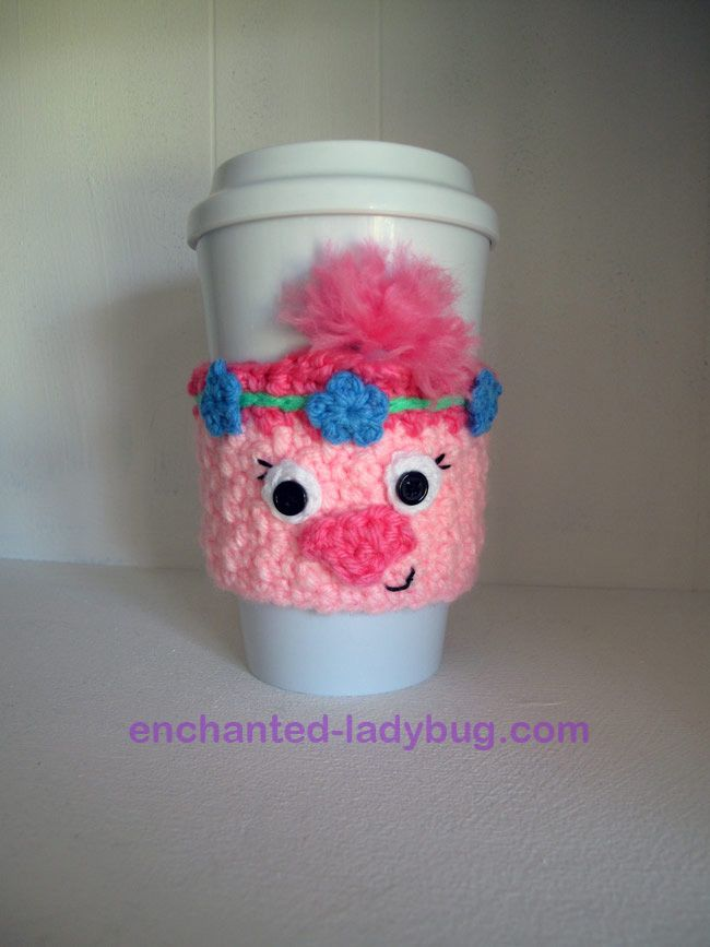 Free Crochet Poppy the Troll coffee cup cozy pattern by The ...