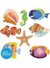 Mini Glitter Fish Cutouts 50ct - Party City
