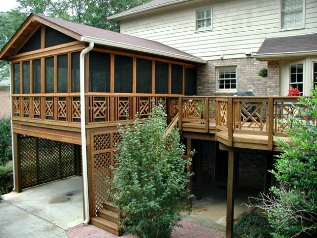Elevated screen porch with carport underneath deck and for House plans with carport in back