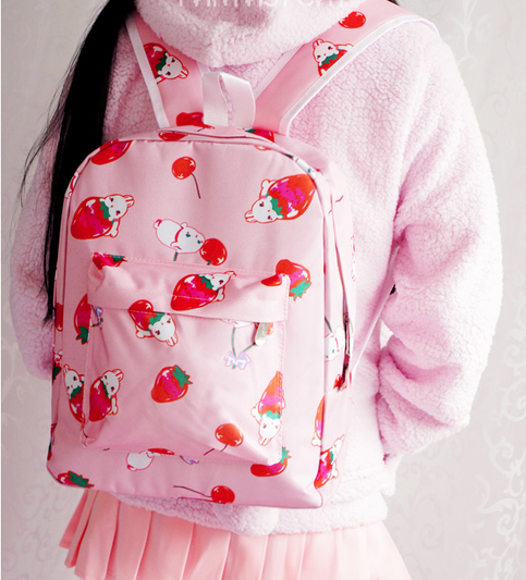 Size:  Length: 28cm,  Height: 36cm,  Thickness: 11cm,    Material: Canvas    Color:pink,white,black