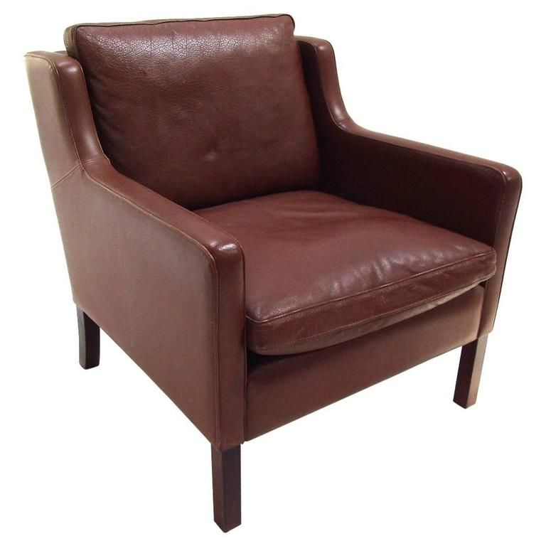 Danish Stouby Tan Brown Leather Armchair Midcentury Chair 1960s