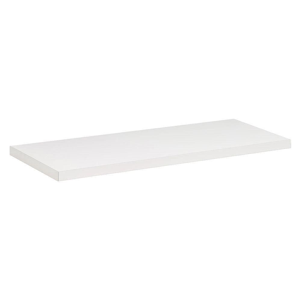 Rubbermaid White Laminated Wood Shelf 12 In D X 48 In L Fg4e1800wht The Home Depot Shelves Decorating Shelves White Wall Shelves