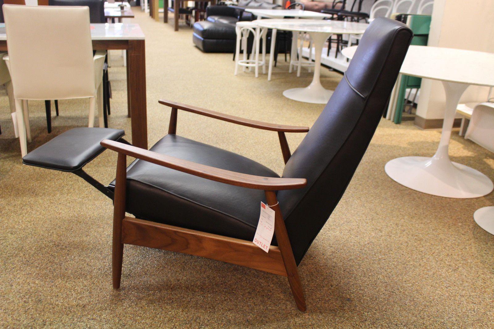 Milo Baughman Recliner 74 In Black Leather Modern Dwr