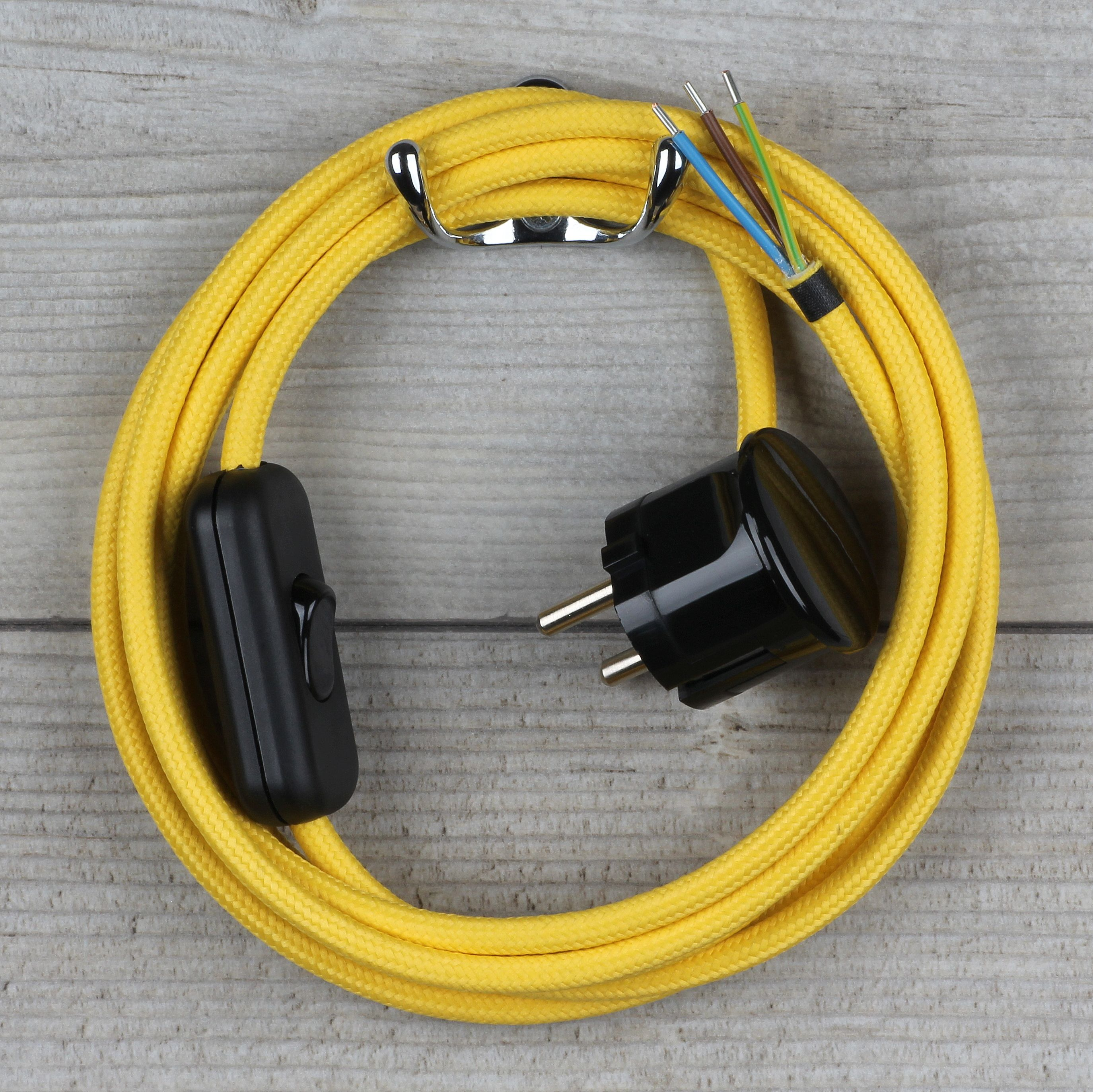 Textilkabel Anschlussleitung 2 5m Gelb Schalter U Schutzkontakt Winkelstecker Mit Bildern Textilkabel Stecker Kabel