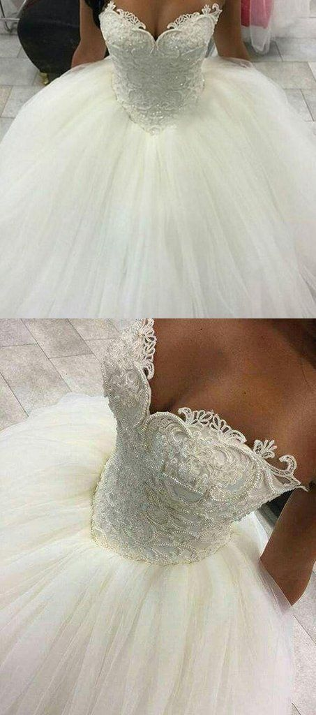 Gorgeous Pearls Ball Gown Wedding Dresses 2017 Sexy Sweetheart Sleeveless Lace Applique Beads Tulle Bridal Gowns Princess #gorgeousgowns