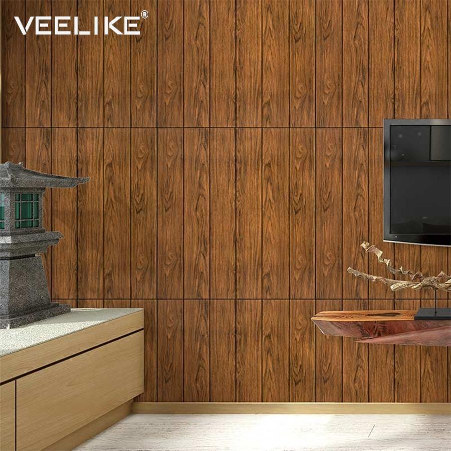 Diy 3d Wall Decals Bedroom Decor Foam Wood Panel Living Room Decor Self Adhesive Wallpaper Wal Wooden Wall Panels Wallpaper Walls Bedroom Wallpaper Living Room