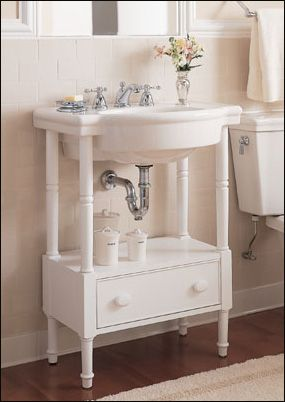 American Standard Retrospect Washstand With Sink In White   /   Bathroom  Sinks   Bathroom Fixtures   Bed U0026 Bath