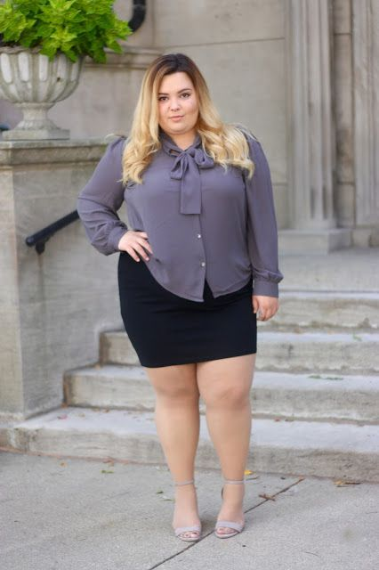 natalieinthecity.com, bow tie blouse, plus size fashion ...