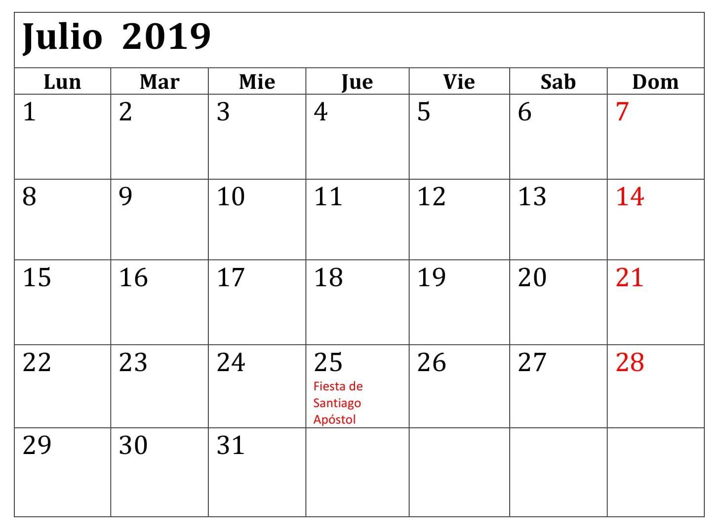 Julio Calendario 2019.Calendario 2019 Julio Pdf Calendario Julio 2019 Period